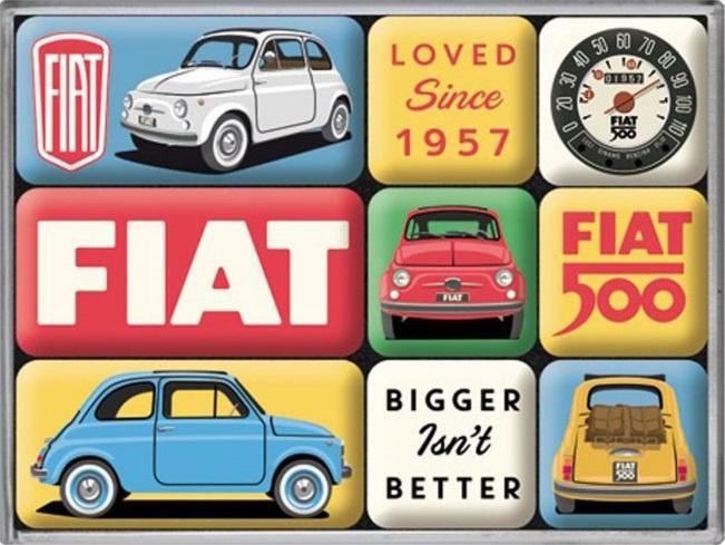 Fiat 500 - Loved Since 1957. Koelkastmagneten set a 9 st.