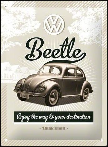 VW Beetle Metalen wandbordin reliëf15  x 20 cm
