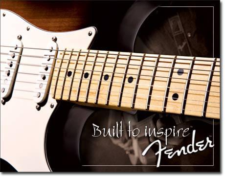Fender  Built To Inspire   Metalen wandbord 31,5 x 40,5 cm.