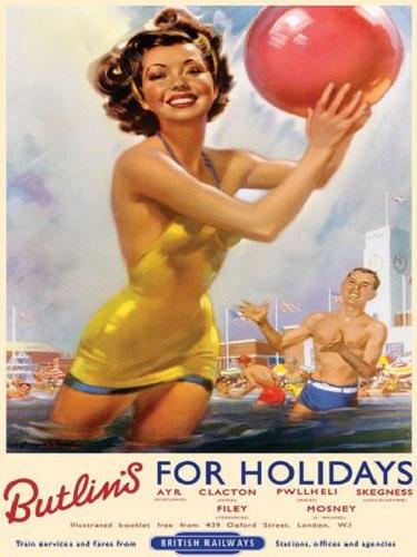 Butline's For Holidays.  Metalen wandbord 15 x 20 cm.