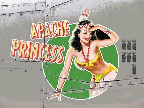 Apache Princess Bomber Girl  Metalen wandplaat 40 x 30 cm.