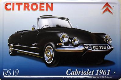 Citroen DS19 Cabriolet 1961 Metalen wandbord 20 x 30 cm.