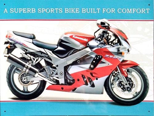 Kawasaki A superb sports bike..   Metalen wandplaat 41 x 30 cm