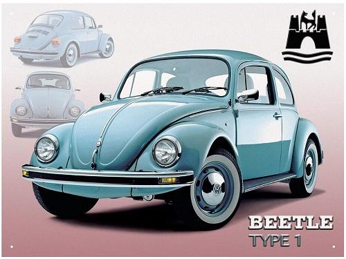 Beetle type 1.   Metalen wandplaat 41 x 30 cm.