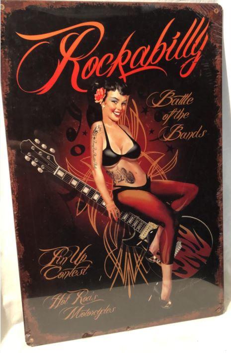 Rockabilly Battle of the Bands. Metalen wandbord 44,5 x 29,5 cm.