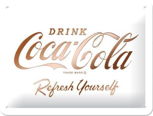 Coca Cola Refresh Yourself Metalen wandbord in reliëf 15 x 20 cm.