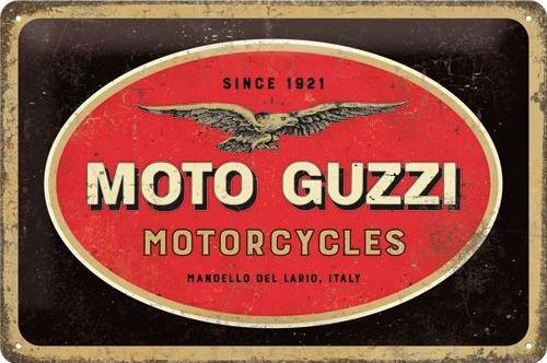 Moto Guzzi Logo Metalen wandbord in reliëf 20 x 30 cm.