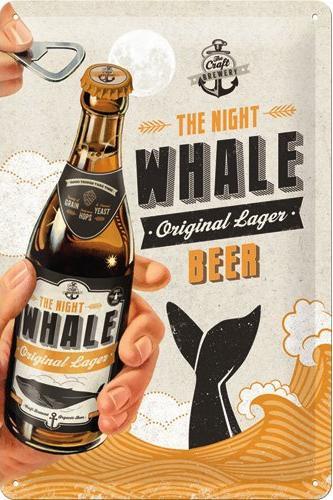 The Night Whale BeerMetalen wandbord in reliëf 20x30 cm