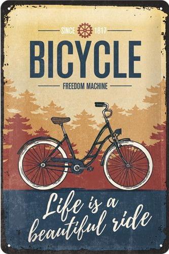 Bicycle Freedom Machine Metalen wandbord in reliëf 20 x 30 cm.