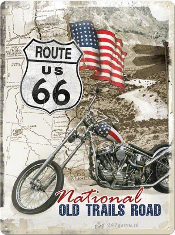 Route 66 National Old Trails Road  Metalen wandbord in reliëf 30 x 40 cm