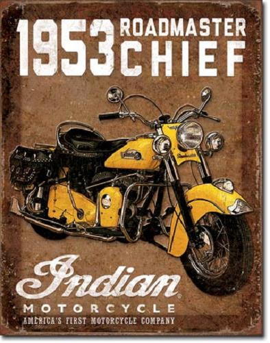 Indian Roadmaster Chief '53  Metalen wandbord 31,5 x 40,5 cm.