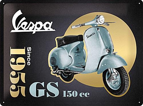 Vespa - GS 150 Since 1955 Special Edition   Metalen wandbord in reliëf 30 x 40 cm .