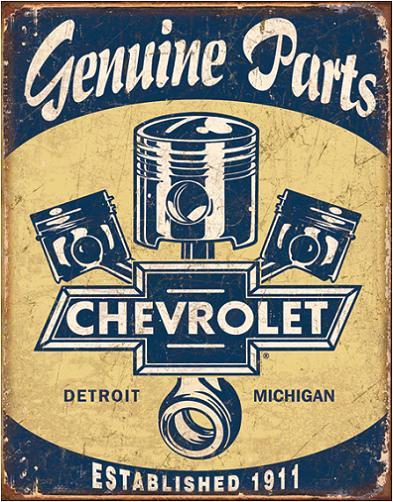 Chevy Parts Pistons Metalen wandbord 31,5 x 40,5 cm.