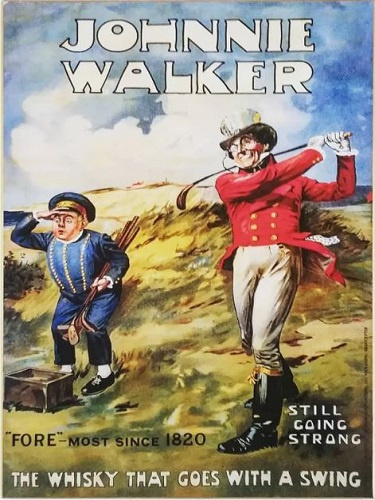 Johnnie Walker Whiskey. Metalen wandbord 30 x 40 cm.