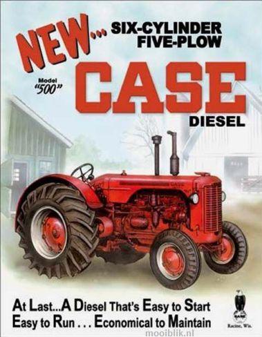 New Case 500 Diesel Metalen wandbord 31,5 x 40,5 cm.