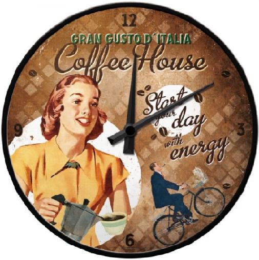Coffee House Gran Gusto D'italia  Wandklok 31 cm.