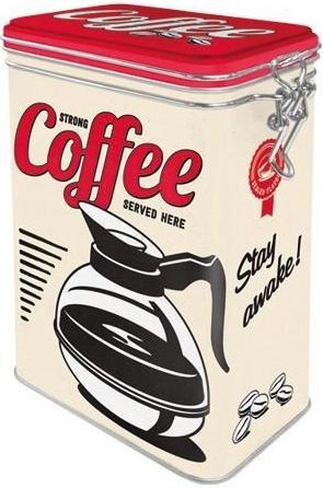 Strong coffee served here! Bewaarblik met beugelsluiting.