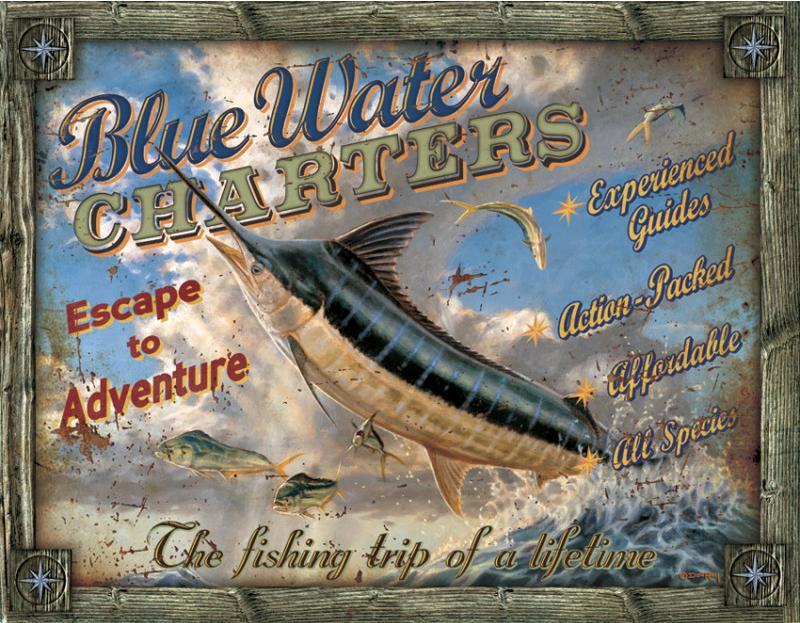 Blue Water Charters Metalen wandbord 31,5 x 40,5 cm.