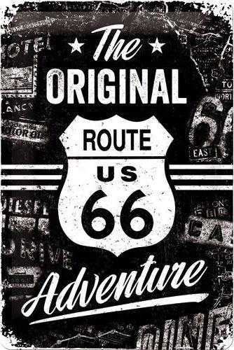 The Original Route 66 Adventure Metalen wandbord in reliëf 20 x 30 cm