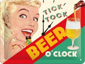 Tick Tock Beer o' Clock Metalen wandbordin reliëf15 x 20 cm