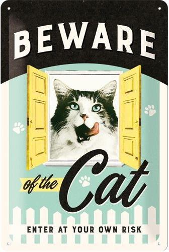 Beware of the Cat Metalen wandbord in reliëf 20 x 30 cm.