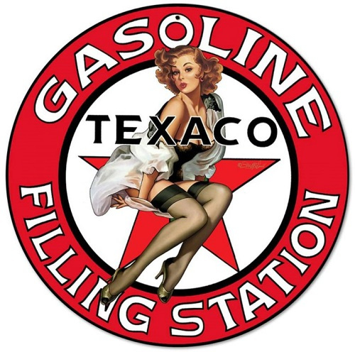 Texaco Gasoline Filling Station Pin Up 2.  Stalen wandbord 35,5 cm rond.