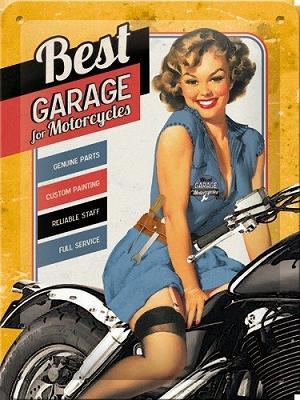 Best Garage For Motorcycles  Metalen wandbordin reliëf15x20 cm