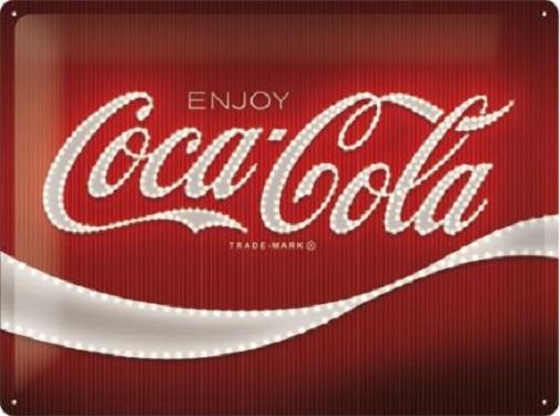 Coca-Cola - Logo Red Lights.  Metalen wandbord in reliëf 30 x 40 cm.