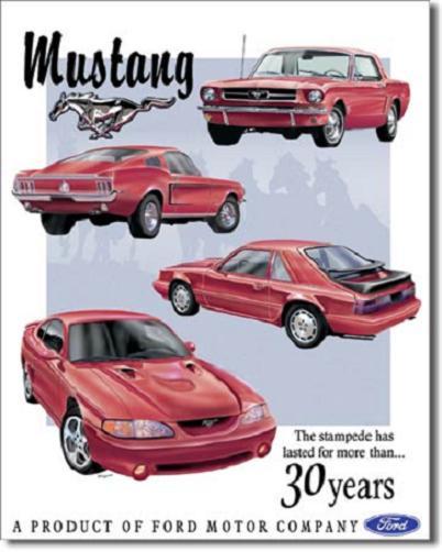 Ford Mustang 30 Years Metalen wandbord 30 x 40 cm.