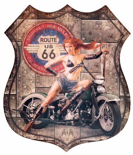 Route 66 Pin up 2.  Metalen Wandbord 80 x 68 cm.