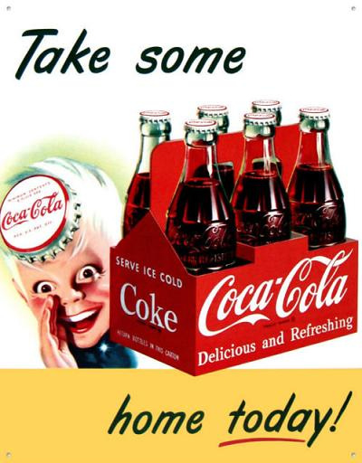 Coca-Cola Take some home today  Metalen wandbord 31,5 x 40,5 cm.
