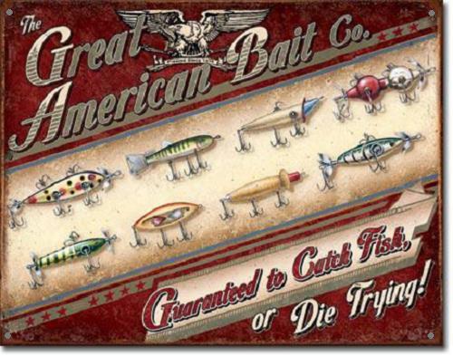 The Great American Bait Co. Metalen wandbord 31,5 x 40,5 cm.