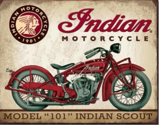Indian MotorcycleScout  Metalen wandbord 31,5 x 40,5 cm