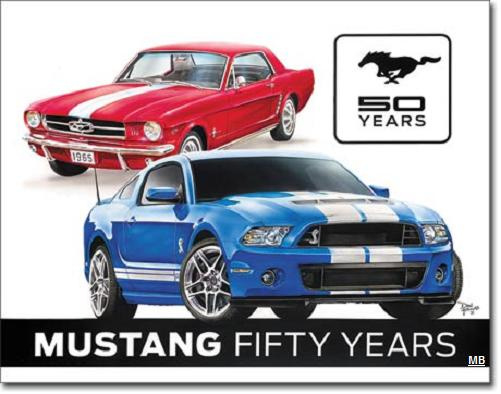 Ford Mustang 50 Years Metalen wandbord 31,5 cm  x 40,5 cm.