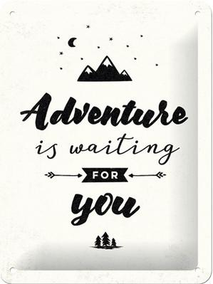 Adventure is waiting  Metalen wandbord in reliëf 15 x 20 cm..