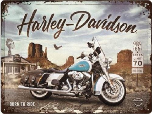 Harley-Davidson - Route 66 Road King Classic.  Metalen wandbord in reliëf 30 x 40 cm.