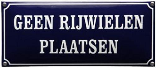 Geen rijwielen plaatsen Emaille bordje 35 x 15 cm