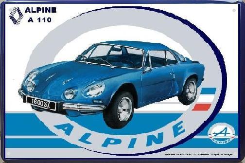 Renault Alpine A110  1600SX Metalen Wandbord 20 x 30 cm