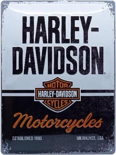 Harley Davidson Motorcycles.  Metalen wandbord in reliëf 30 x 40 cm.