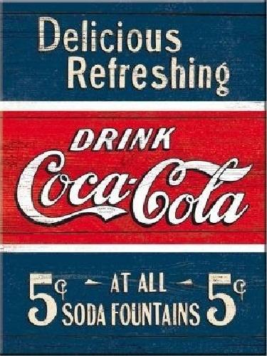 Coca/Cola Delicious Refreshing. Koelkastmagneet 8 cm x 6 cm.