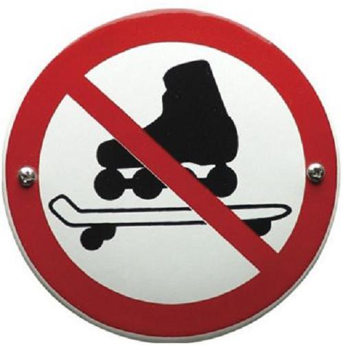 Skaten Verboden Emaille bordje ⌀ 10 cm.