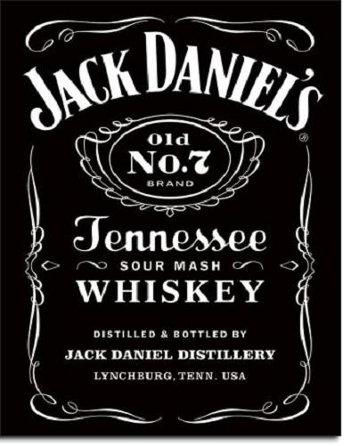 Jack Daniel's Black Logo  Metalen wandbord 31,5 x 40,5 cm.