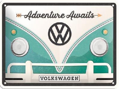 VW Bulli Adventure Awaits Metalen wandbord in reliëf15 x 20 cm.