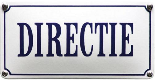 Directie Emaille bordje 22 x 7 cm.