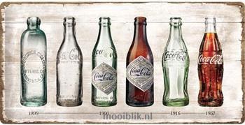 Coca Cola Timeline Metalen wandbord in reliëf 25 x 50 cm