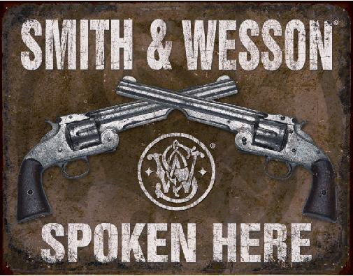 Smith & Wesson Spoken Here Metalen wandbord 31,5 x 40,5 cm.