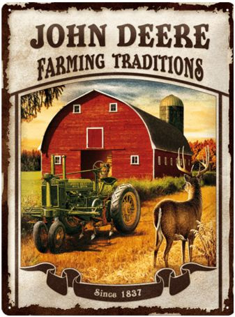 John Deere Farming traditions Metalen wandbord in relief 40 x 30 cm