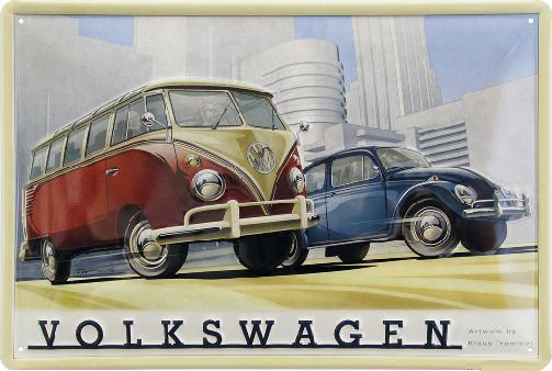 VW Bus en Kever Metalen wandbord in reliëf 20 x 30 cm.
