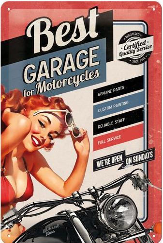 Best Garage For Motorcycles Metalen wandbord in relief 20 x 30 cm