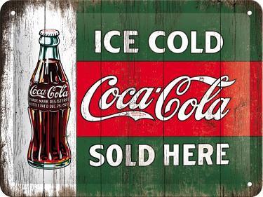 Ice Cold Coca Cola Sold Here  Metalen wandbord   in reliëf 15 x 20 cm.